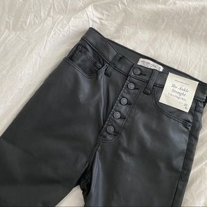 A&F Black Coated Leather Jeans